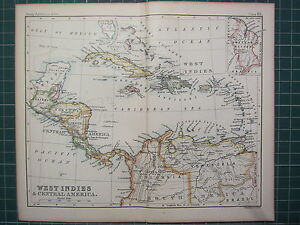 1887 Antique Map West Indies Central America Hondura Panama Jamaica Cuba