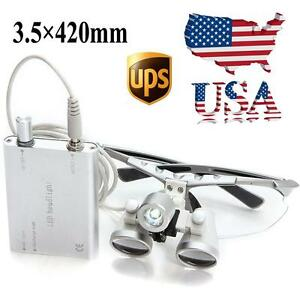 Usa Silver Dental Surgical Loupes 3 5x 420mm Optical Glass W Led Head Light Lamp