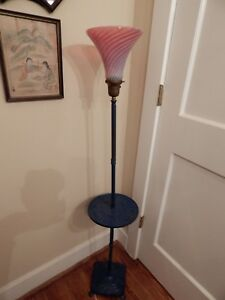 Victorian Cranberry Glass Floor Lamp Working 57 5 H