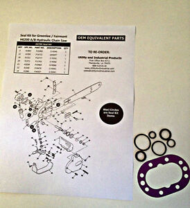 Seal Kit Greenlee Fairmont H6200 A b And Hcs Hydraulic Chain Saw Part 40789