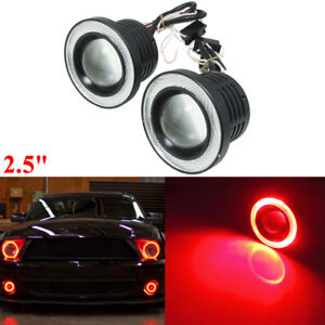 2pcs Hid White Car Truck 2 5 Led Fog Light Lamp W Red Cob Halo Angel Eye Rings