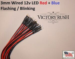 10x Red Blue 3mm Pre Wired Led Flashing Blinking Police Light 12v Usa