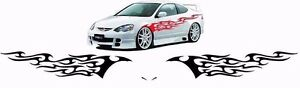 Flame Auto Graphics Decal Large 12 x 46 Flaming Body Car Truck Vinyl Flames V6