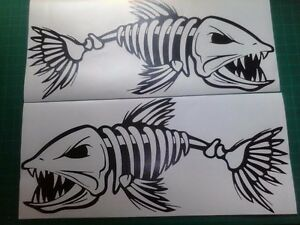 2 Skeleton Fish Boat Decals Large Vinyl Graphic Fishing Sticker 10 X 23