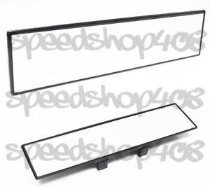 Jdm 300mm Wide Clear Glass Flat Rear View Mirror Clip On Anti glare Clear Tint