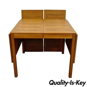 Vintage Mid Century Danish Modern Vejle Stole Teak Extension Leaf Dining Table