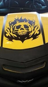Skull Flame Hood Decal Large Auto Graphics Sticker Truck Car Body Trailer Boat