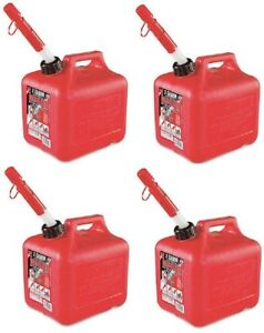 4 Midwest 2300 2 Gallon Red Plastic Gas Fuel Cans Containers For 2 Cycle Oil
