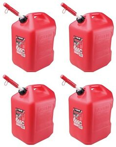 4 Midwest 6600 6 Gallon Red Plastic Gas Cans Containers W Spill Proof Spouts