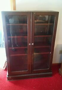 Vintage Wood Bookcase China Press Cabinet Quartersawn Oak Early 1900 Late 1800