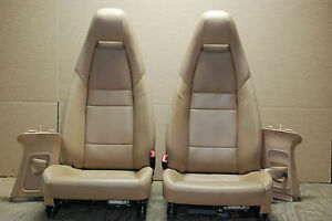 Porsche 970 Panamera Tan Front Leather Bucket Seats Left Right Seat Belts