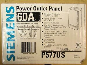 Siemens Outdoor Power Outlet Panel 3r 120 240v Ac 60 Amp P577us