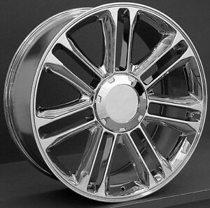 22 Chrome Cadillac Escalade Platinum Wheels 5358 Set 4 Rims 7 Spoke Chrome Esv