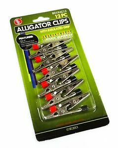 New 12pc 2 Alligator Clip Set Negative positive Insulated Post Electrical Clamp
