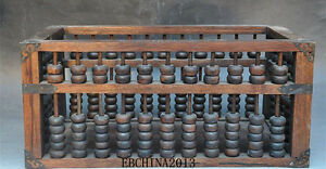 16 Old Chinese Rosewood Wood Carved Antiquity Calculation Tool Abacus Statue Box