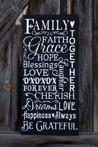 Large Primitive Handmade Wooden Sign Family Faith Distressed Rustic Home Country