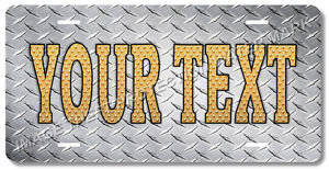 Custom Personalized Your Text Vanity License Plate Silver Diamond Plate Look
