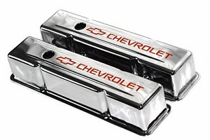 Sbc Chrome Steel Tall Valve Covers W Orange Chevrolet Logo 58 86 283 400 Chevy