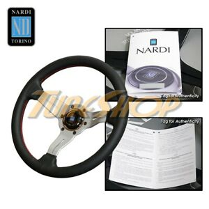 Italy Nardi Rally Deep Corn 330mm Steering Wheel Black Perforated Leather Red s