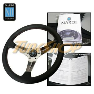 Nardi Rally Deep Corn 350mm Polish Steering Wheel Black Perforated Leather Red