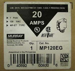 Murray Mp120eg Single Pole 20 Amp Type Mp et Insta Wire Gfi Breaker