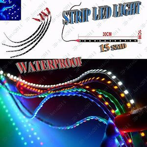 Blue 4pcs 30cm 12v 15 Smd Led Car Flexible Waterproof Light Strip