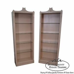 Custom Painted Pair Of French Louis Xv Style Open Bookcases Etageres