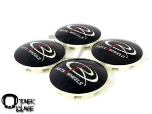 Rota Wheels Center Caps Black Dome 4pcs Replacement 15 16 Circuit 8 Grid