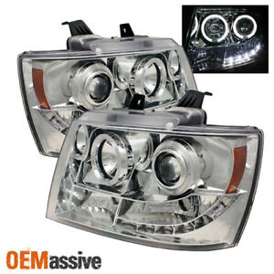 Fits 07 14 Chevy Suburban Tahoe Halo Projector Led Headlights Pair Repalcement