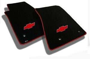 New Black Floor Mats 2010 2014 Chevy Cruze With Red Bowtie Logo Red Binding