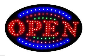 Latest Led Neon Sign With Motion open With Blue green Tracer S161