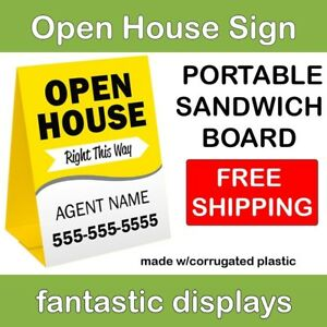 Portable Open House Sign Sandwich Board A frame Style In Corrugated Plastic