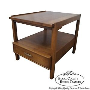 Barney Flagg Drexel Parallel Mid Century Modern Walnut End Table