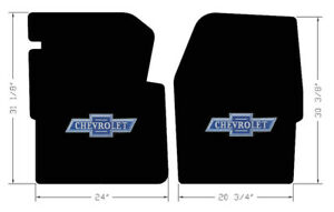 New Black Floor Mats 1960 1966 Chevy Pickup Truck C10 K10 Blue Embroidered Logo