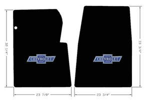 New Black Floor Mats 1967 1970 Chevy Pickup Truck C10 K10 Blue Embroidered Logo