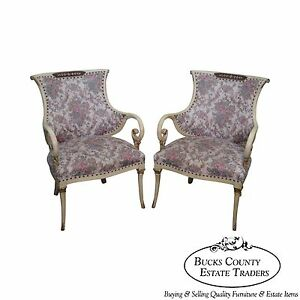 Hollywood Regency Pair Of Paint Frame Brass Inlay Fire Side Open Arm Chairs