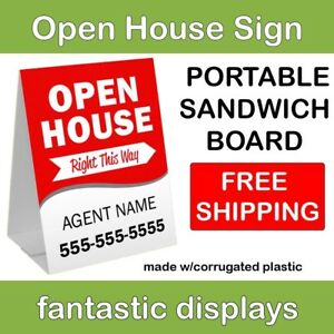Portable Open House Sign 18 X 24 Corrugated Plastic A frame Sandwich Board Red