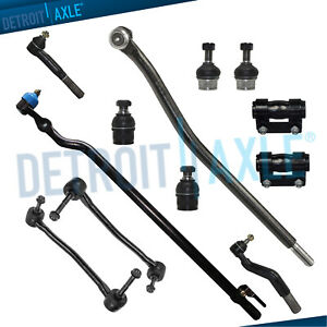 12pc Complete Front Drag Link Ball Joints Sway Bar End Link Tie Rod 4wd