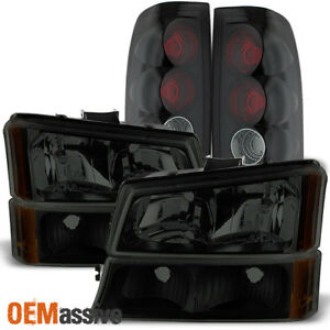 Fit 2003 2006 Chevy Silverado 1500 2500 3500 Black Smoked Headlights Tail Lights