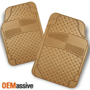 All Weather Metal Style Beige Car Front Floor Mats 2 Pieces Liner Heavy Duty