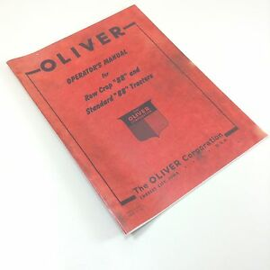 Oliver 88 Tractor Owners Operators Manual Standard Row Crop Adjustments