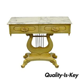 Vintage Victorian Painted Marble Top Lyre Harp Base Console Hall Entry Table