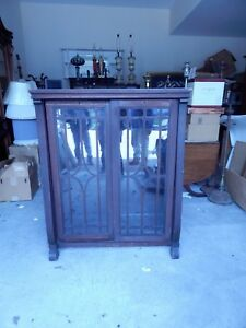 Wood And Glass Front Bookcase Cabinet 48 25 H By 39 75 W By 18 25 D