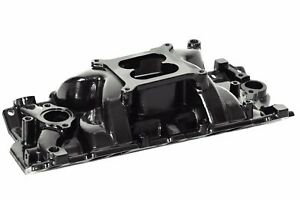 Sbc Black Powdercoated Dual Plane Performer Aluminum Intake Manifold 55 86 Chevy