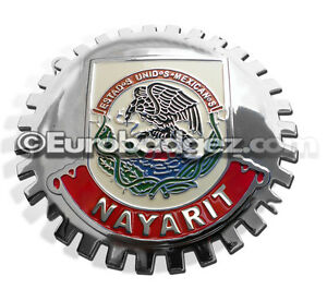 1 New Chrome Front Grill Badge Mexican Flag Spanish Mexico Medallion Nayarit
