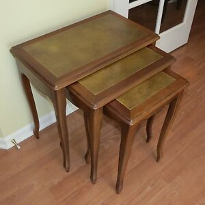 Vintage Mid Century Maple Wood Stacking Nesting Tables W Leather Top Eames Era