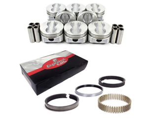 Gm Chevy Sbc 350 5 7l Flat Top Pistons Rings With Wrist Pins Set Of 8