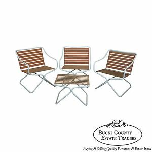 Brown Jordan Mid Century Aluminum Vinyl Strap Set Of 3 Patio Arm Chairs Ottoman