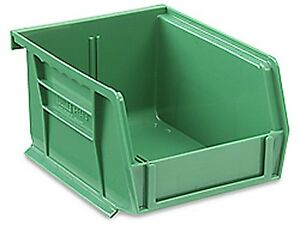 Green Stackable Storage Bin 5 1 2 l X 4 w X 3 h Lot Of 24 s 12413g
