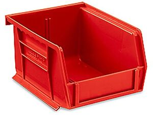 Red Stackable Storage Bin 5 1 2 l X 4 w X 3 h Lot Of 24